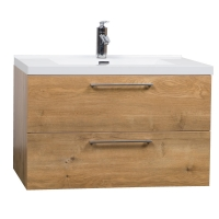 "33.5"" Wall-Mount Contemporary Bathroom Vanity Set Natural Oak TN-TA860-NO"