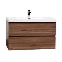 "Angela 35.4"" Wall-Mount Bathroom Vanity in Walnut TN-AG900-1-WN"