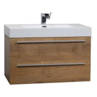 "35.5"" Wall-Mount Contemporary Bathroom Vanity Natural Oak TN-M900-NOK"