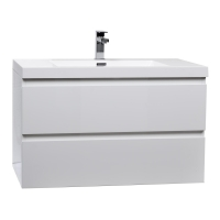 "Buy Angela 35.4"" Wall-Mount Bathroom Vanity in High Gloss White TN-AG900-1-HGW  - Conceptbaths.com Free Shipping"