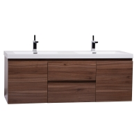 "59"" Angela Wall Mounted Modern Double Vanity  Walnut TN-AG1500-1D-WN"