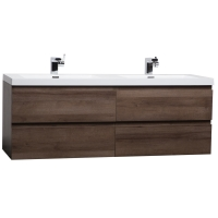 "Angela 59"" Contemporary Double Wall Mounted Black Walnut TN-AG1500D-BW"