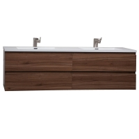 "Angela 71"" Contemporary Double Wall Mounted Walnut TN-AG1800-1-WN7"