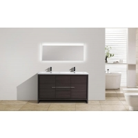 CBI Enna 59 Inch Double Bathroom Vanity Grey Oak TN-LA1500D-GO