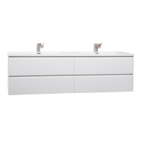"Angela 71"" Contemporary Double Wall Mounted High Gloss Whie TN-AG1800-1-HGW"