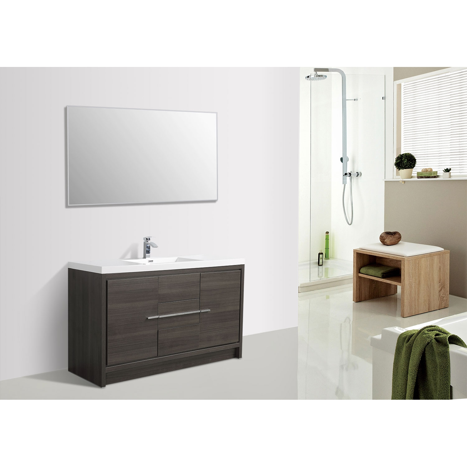 Buy Cbi Enna 59 Inch Single Modern Bathroom Vanity In Grey Oak Tn La1500s Go On Www Conceptbaths Com Free Shipping