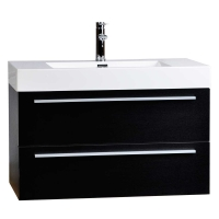 "39.25"" Wall-Mount Contemporary Bathroom Vanity Walnut TN-T1000-BK"