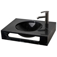 "23.5"" Black Marquine Natural Stone Wall Mount Vanity Combo Sink LM-T086BM"