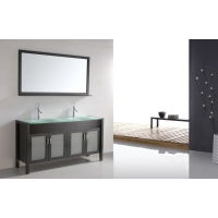 "60"" Solid Wood Double-sink Vanity Tempered Glass Top - Espresso CB6011"