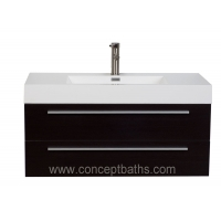 "39.5"" Wall-Mount Contemporary Bathroom Vanity - Espresso"