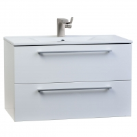 "Caen 32"" Wall-Mount Modern Bathroom Vanity Set High Glossy White Optional Mirror RS-DM800-HGW"