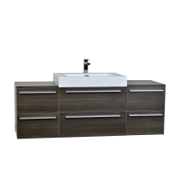 "Tempa 59"" Modern Double Vanity Set Wall Mount Grey Oak  TN-TA1500-GO"