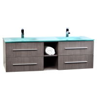 "Savona Solid Wood 60"" Wall-mounted Double Bathroom Vanity Set VM-V18183-LGO Ligh Grey Oak"