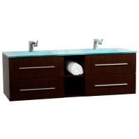 """Savona 60"""" Wall-mounted Double Bathroom Vanity Set VM-V18183-IRW - Iron Wood"""