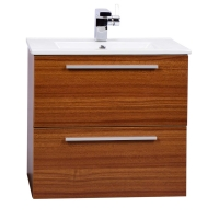 "Nola 24.25"" Wall-Mount Modern Bathroom Vanity Teak TN-T600C-TK"