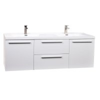 """59"""" Wall Mounted Modern Double Vanity in High Gloss White TN-NT1500D-HGW"""