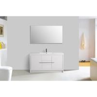 CBI Enna 59 Inch Single Modern Bathroom Vanity in High Gloss White TN-LA1500S-HGW