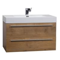 "35.5"" Wall-Mount Contemporary Bathroom Vanity Natural Oak TN-M900-NOK"