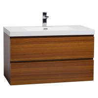"Angela 35.5"" Wall-Mount Bathroom Vanity in Natural Oak TN-AG900-NO"