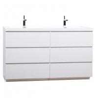 CBI Edison 59 Inch Double Modern Bathroom Vanity Glossy White TN-ED1500D-HGW