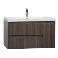 "35.25"" Angela Wall Mounted Modern Single Vanity Grey Oak TN-AS900-GO"
