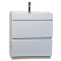 """29.5"""" Contemporary Bathroom Vanity in High Gloss White  TN-LY750-HGW"""