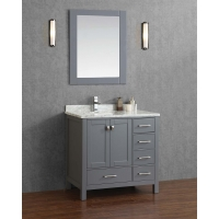 "Vincent 36"" Solid Wood Single Bathroom Vanity in Charcoal Grey HM-13001-36-WMSQ-CG"