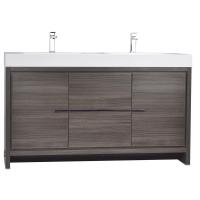 CBI Alice 59 Inch Modern Bathroom Vanity in Grey Oak TN-LA1500-1-GO
