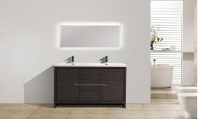 CBI Enna 59 Inch Double Bathroom Vanity Grey Oak TN-LA1500D-GO