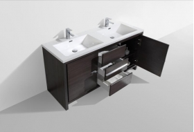Buy CBI Enna 59 Inch Double Modern Bathroom Vanity Grey Oak TN-LA1500D-HGW on www.conceptbaths.com, FREE SHIPPING
