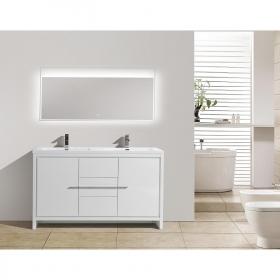 CBI Enna 59 Inch Double Bathroom Vanity in High Gloss White TN-LA1500D-HGW