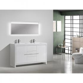 Buy CBI Enna 59 Inch Single Modern Bathroom Vanity in High Gloss White TN-LA1500S-HGW on www.conceptbaths.com, FREE SHIPPING