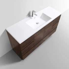 Buy CBI Edison 59 Inch Single Modern Bathroom Vanity Rosewood TN-ED1500S-RW on www.conceptbaths.com, FREE SHIPPING