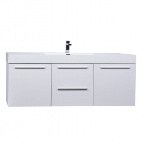 """59""""  Wall Mount Contemporary Bathroom Single Vanity in High Gloss White TN-NT1500S-HGW"""