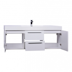 Buy 59 Inch  Wall Mount Contemporary Bathroom Single Vanity in High Gloss White TN-NT1500S-HGW - Conceptbaths.com