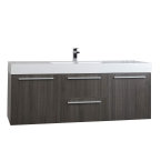 "59""  Wall Mount Contemporary Bathroom Vanity  in Espresso TN-NT1500S-WG59""  Wall Mount Contemporary Bathroom Single Vanity in Grey Oak TN-NT1500S-GO"