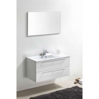 "Caen 40"" Wall-Mount Modern Bathroom Vanity Set Grey Oak Optional Mirror RS-DM1000-HGW"