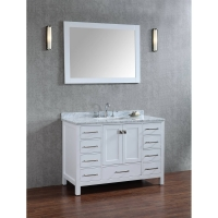 "Vincent 48"" Solid Wood Single Bathroom Vanity in White HM-13001-48-WMSQ-WT"
