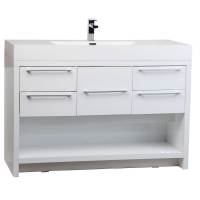 "Lodi 47"" Modern Bathroom Vanity Set Glossy White Finish TN-L1200-HGW"