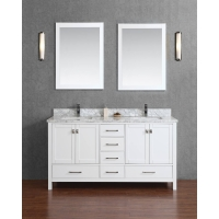 "Vincent 60"" Solid Wood Double Bathroom Vanity in White HM-13001-60-WMSQ-WT"