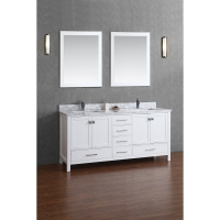 "Vincent 72"" Solid Wood Double Bathroom Vanity in White HM-13001-72-WMSQ-WT"