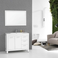 "39.5"" Modern Bathroom Vanity Glossy White Finish Optional Mirror RS-L1000-HGW"