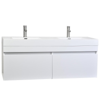 "57"" Modern Double Sink Vanity Set in Glossy White - Black TN-T1440-HGW"
