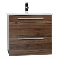 "Nola 24.25"" Wall-Mount Modern Bathroom Vanity Walnut TN-T600C-WN"