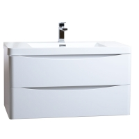 "Merida 35.5"" Wall-Mount Bathroom Vanity in Gloss White TN-SM900-HGW"