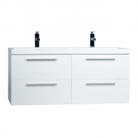 "47"" Wall Mounted Modern Double Bathroom Vanity High Gloss White TN-T1200D-HGW"
