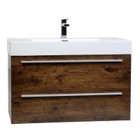 "35.5"" Wall-Mount Contemporary Bathroom Vanity Rosewpd TN-M900-RW"