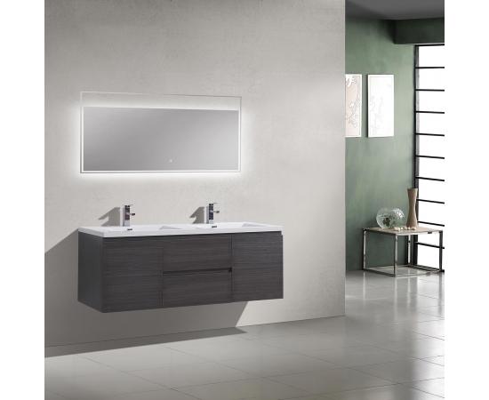 Buy 59 Inch Angela Wall Mounted Modern Double Vanity in Char Oak TN-AG1500-1D-CO    Conceptbaths.com