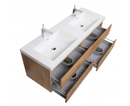 Buy Angela 59 Inch Contemporary Double Wall Mounted Natural Oak TN-AG1500D-NO on conceptbaths.com, FREE SHIPPING