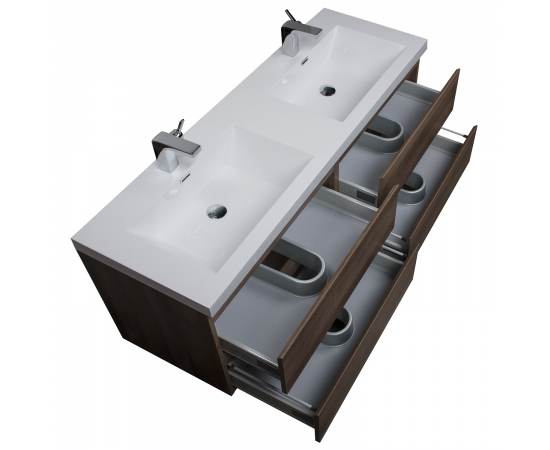 Buy Angela 59 Inch Contemporary Double Wall Mounted Black Walnut TN-AG1500D-BW TN-AG1500D-WN